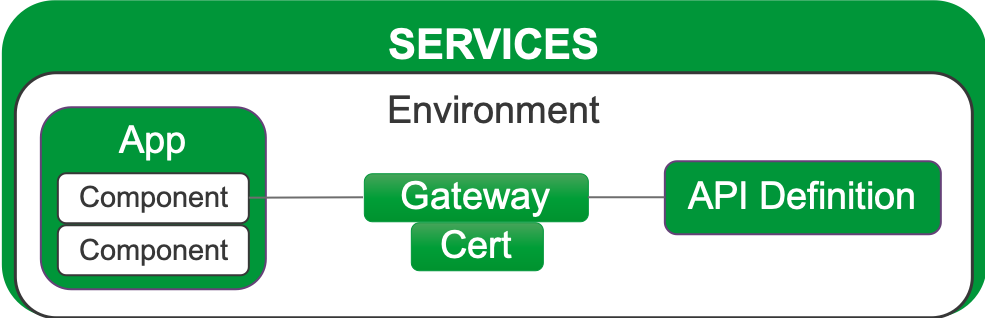 Diagram showing the relationship of objects in an Environment within the Services area.